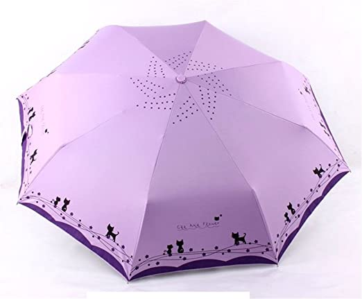 Amazon.com : Katoot@ Cute cat and flower three-folding automatic umbrella rain sun women black coating plegable windproof paraguas mujer high quality (Light ...