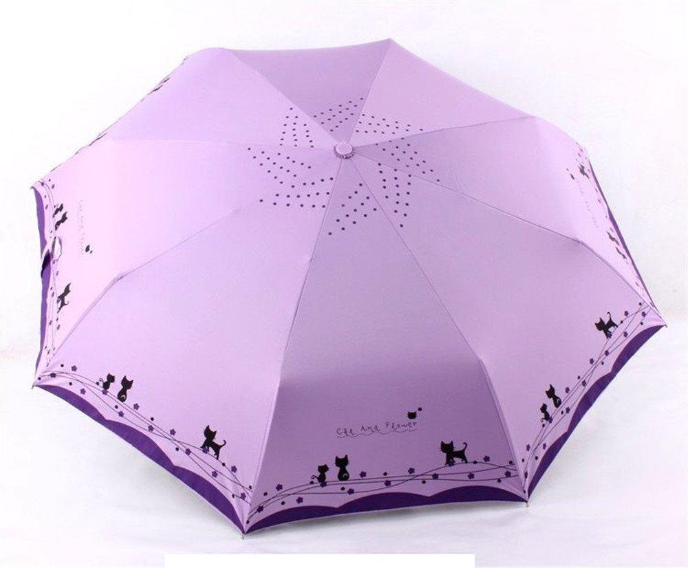 Katoot@ Cute cat and flower three-folding automatic umbrella rain sun women black coating plegable windproof paraguas mujer high quality (Light Purple)
