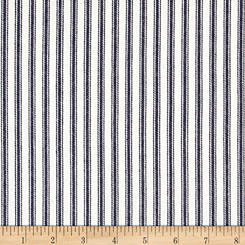 WAVERLY Classic Ticking Navy Fabric by The Yard ()