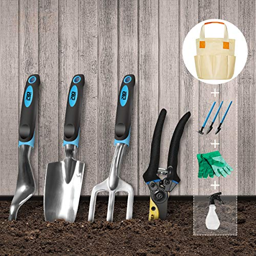 Prostormer Garden Tools Set, 10 Piece Heavy Duty Gardening Kit with Trowel, Pruning Shears, Rake, Weeder and Durable Storage Bag - All-in-One Garden Gifts Set for Woman and Men