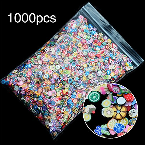 Clay Fruit Slices - Fruit Nail Art - 1000pcs/Pack 3d Fruit Flowers Feather Design Tiny Fimo Slices Polymer Clay Diy Girls Toys Stickers Girls Gifts 3mm