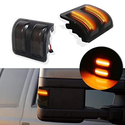 GTINTHEBOX Mirror LED Marker Light for 2008-2016 Ford F250 F350 F450 Super Duty Amber Turn Signal Light,Smoked Lens: Automotive
