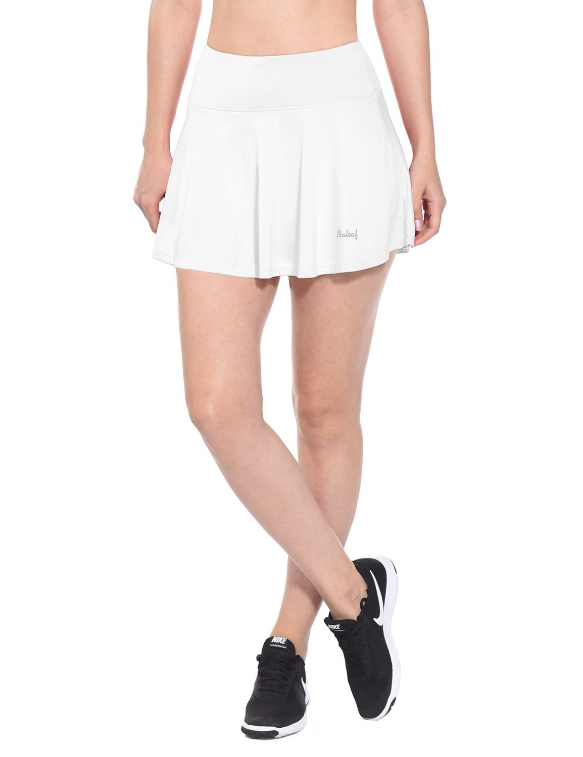 Baleaf Women's Athletic Pleated Tennis Golf Skirt with Pockets White Size M