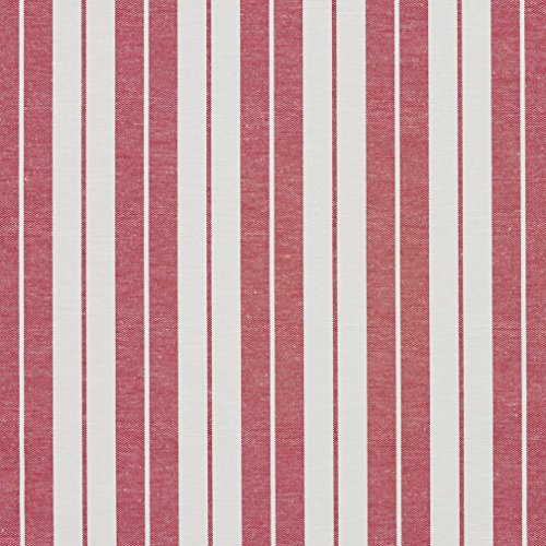 A580 Red and White Ticking Stripes Heavy Duty Upholstery Fabric by The Yard ()