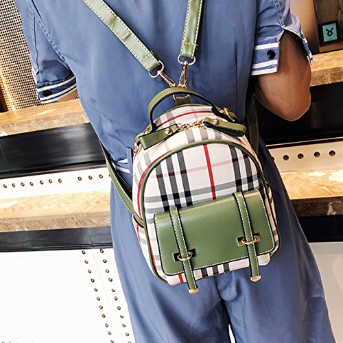female backpack leather bag casual dudubaobei green PU plaid student fashion small backpack A fresh small simple FAAEwO