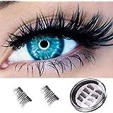 False Eyelashes Natural Look, 3D Premium Quality Fake Eyelashes/Natural Magnetic/Full Eye,100% Handmade Black Nature Fluffy Long Soft Reusable 4 Pair