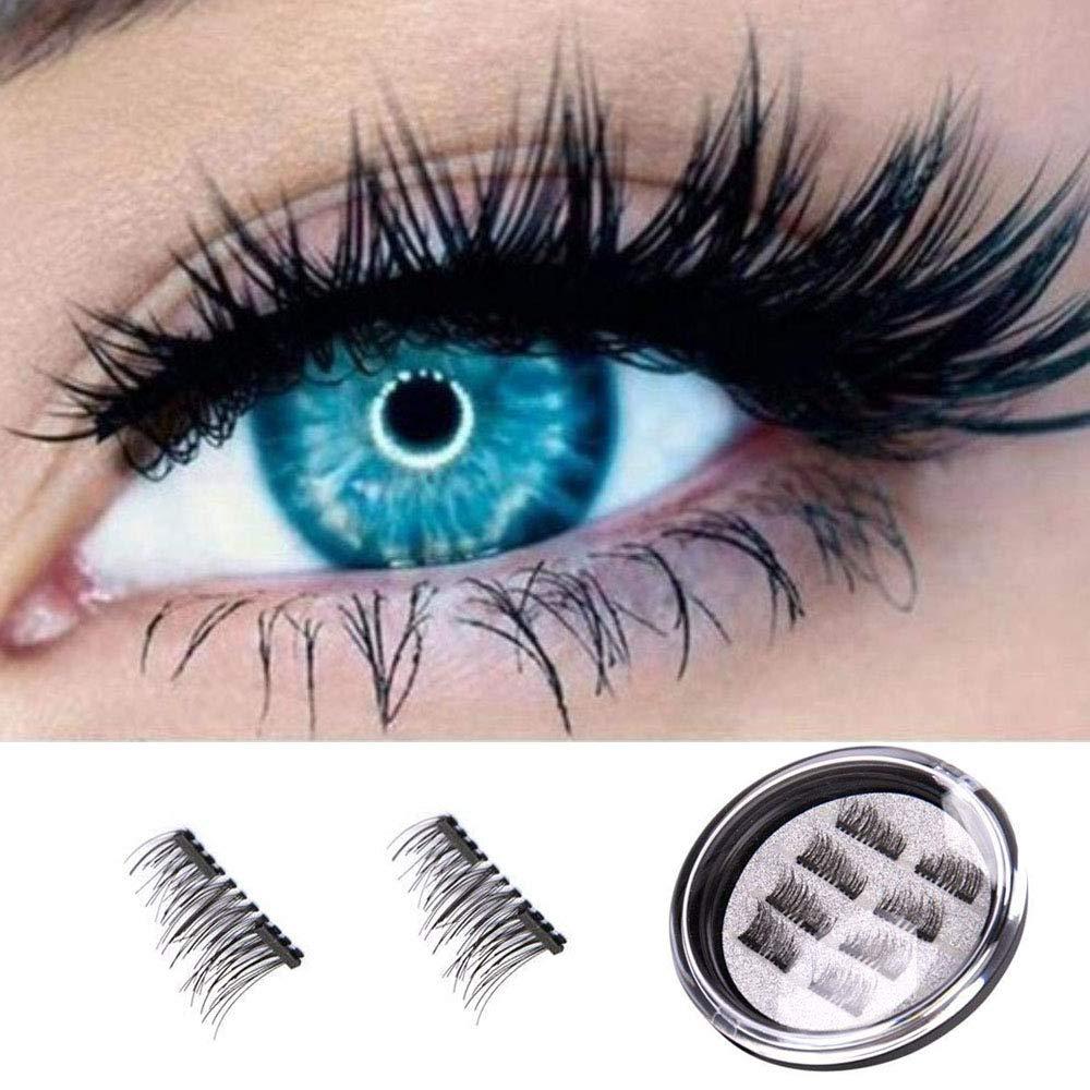 Fake Eyelashes Natural Look, Andrew 3D Premium Quality False Eyelashes/Natural Magnetic/Full Eye,100% Handmade Black Nature Fluffy Long Soft Reusable 4 Pair/8 Pcs Androw