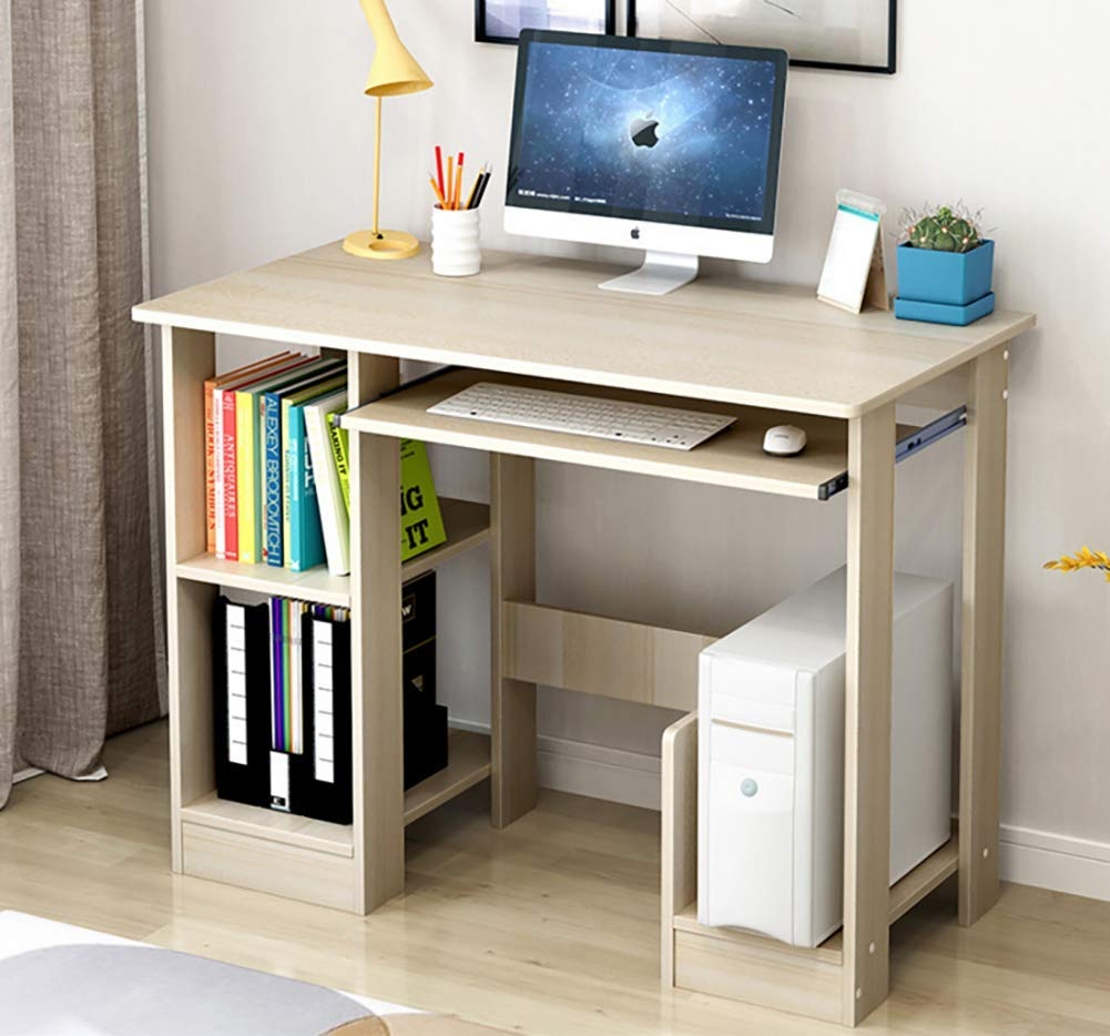 G 90x40x70cm(35x16x28in) Computer Desk for Small Spaces,Computer Table Pc Laptop Table Modern Studio Desk Retro Student Desk Wood Shelves Workstation-D 80x40x70cm(31x16x28in)