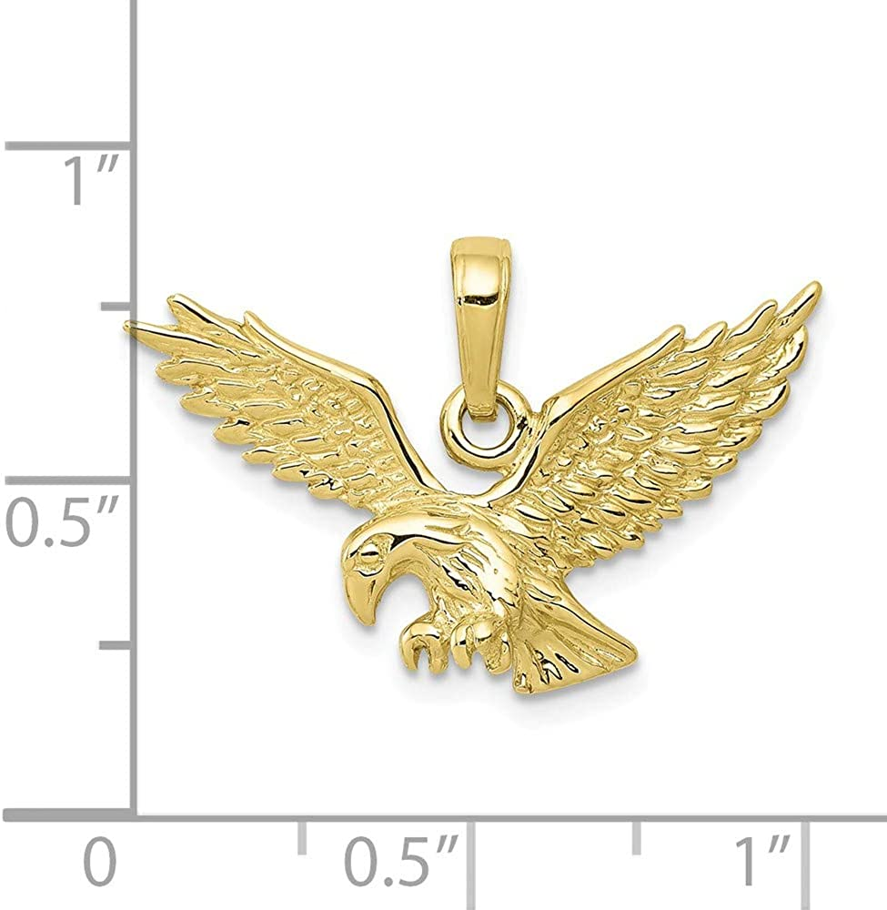 FB Jewels 10K Yellow Gold 3D Eagle Landing Textured Pendant