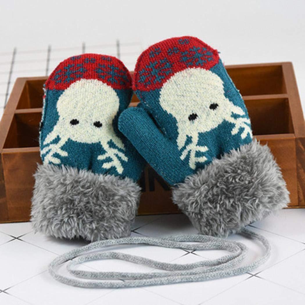 Sliwei Bambini Ragazzi Ragazze Inverno Caldo Natale guanti addensati Kintted Guanti e manopole