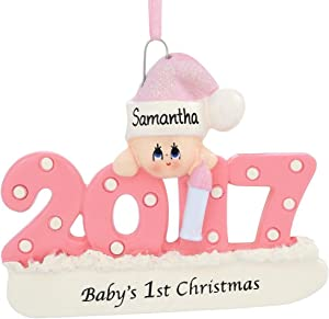 2017 Baby's First Xmas Ornament, Personalized - Pink/Girl