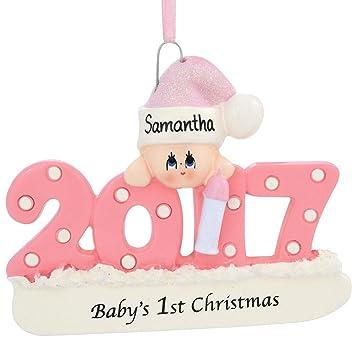 Amazon.com: Baby's First Christmas Ornament 2017 - Pink/Girl ...