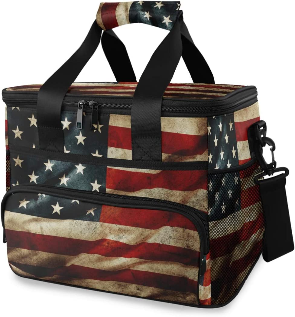 Picnic Lunch Bag American Flag Retro Grunge Thermal Cooler Shoulder Strap Portable Box Meal Food Container Insulated Lunch Tote Travel Office School