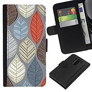 KLONGSHOP // Tirón de la caja Cartera de cuero con ranuras para tarjetas - Otoño Naranja Marrón Gris - LG G3 //