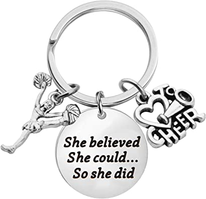 Cheerleader Charm Keychain Girls Cheerleading She Believed She Could So She Did Key Chain Sportybella Cheer Keychain /& Card Gift Set Cheer Jewelry for Cheerleaders /& Cheer Coaches