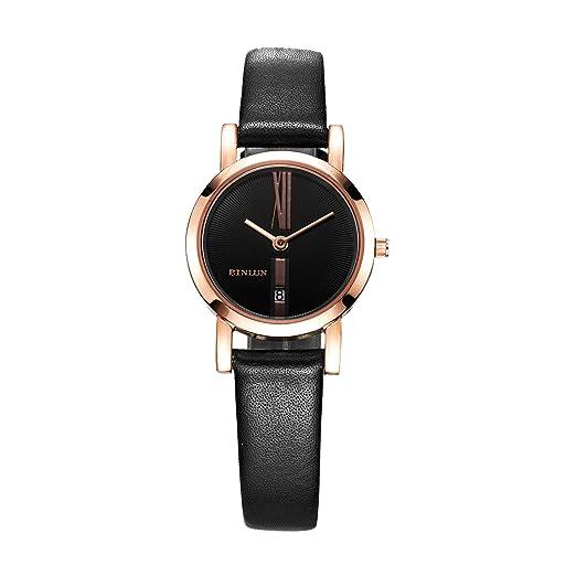 Binlun - Relojes para él y para ella de oro rosa plateado Regalos para Pareja, resistentes al agua, bandas de piel, juego de relojes con fecha.