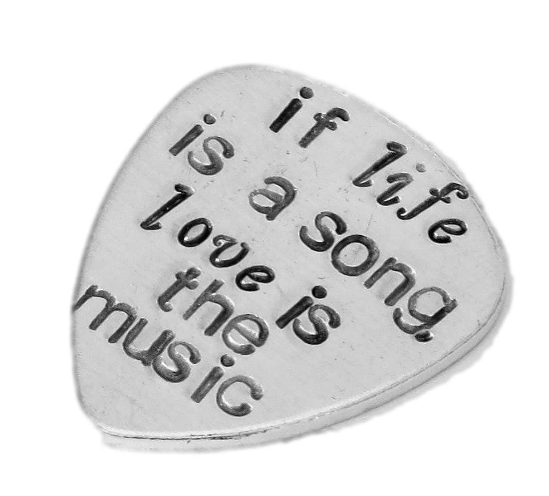 If Life Is A Song、愛はアルミの音楽 – Guitar Pick Traditionalスタイル – カスタマイズカスタマイズされた手Stamped Hammeredギターピック – 最高のギフトMusician   B00LQO04SW