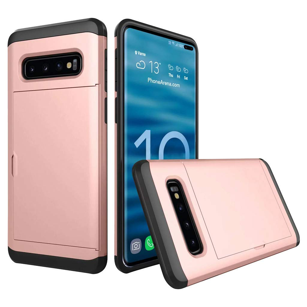 Cyhulu Samsung Galaxy Phone S10 Plus Case, Hot New Brushed Hard PC+Silicone Case Cover Card Holder for Samsung Galaxy S10 Plus 6.4 inch, 11 Color Available (Rose Gold, One size)