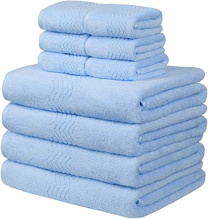 Piccocasa Luxury 100 Cotton Bath Towels Set Pack Of 10 Include 4pcs Bath Towels 6pcs Wash Cloths For Family Hotel Spa Gym Soft Thick Large Fast Drying Light Blue Home Kitchen