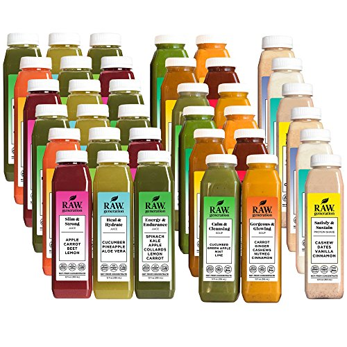 Raw Generation 6-Day Skinny Cleanse System – Buy 5 Days Get 1 Free Day / Includes Raw Juices, Soups, & Nut Milks / 36 Bottles by RAW generation