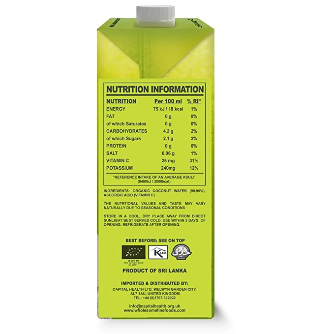 6ee66fc63 Cocomi Organic Natural Coconut Water 1 litre x 12  Amazon.co.uk  Grocery