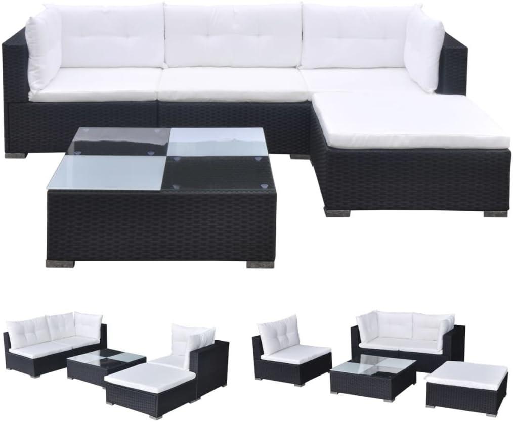 vidaXL Conjunto de Muebles de Jardín 5 Piezas Ratán Sintético Negro Juego Comedor Exterior Mesa y Sillas Patio Porche Terraza Material Estilo Mimbre