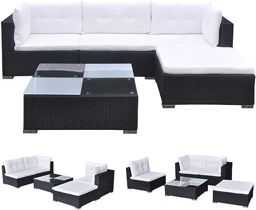 vidaXL Conjunto de Muebles de Jardín 5 Piezas Ratán Sintético Negro Juego Comedor Exterior Mesa y Sillas Patio Porche Terraza Material Estilo Mimbre: Amazon.es: Jardín
