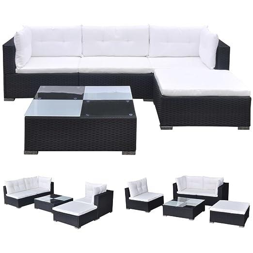 vidaXL Juego de Muebles de Jardín 17 Piezas Poli Ratan Negro Sofás Exterior