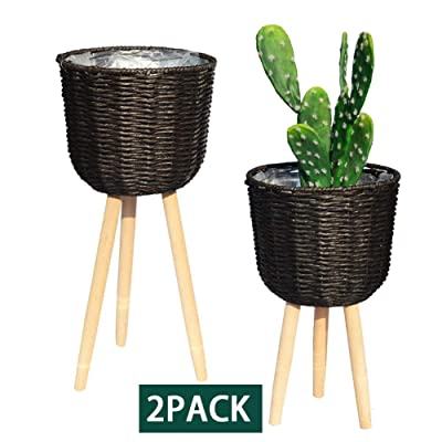 REVOLUMINI Mid-Century Modern Plant Stand for Indoor, Planter Stand with Plastic Pot, Wood Flower Pot Holder Indoor Plant Display Stand, Set of 2 (Dark Brown) : Garden & Outdoor