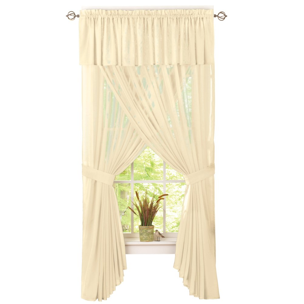 Cameron Sheer Privacy Solid Colored Rod Pocket Window Curtain Set - Includes Valance and 2 Panels, Cream