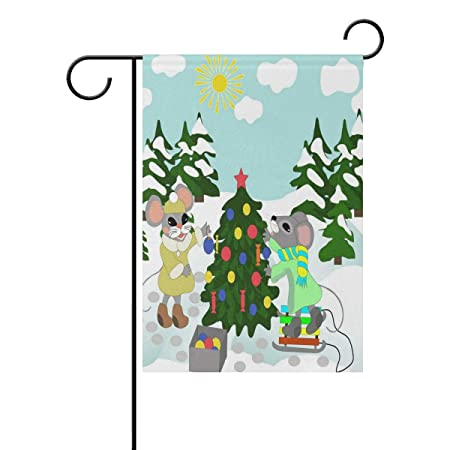 Aluy S Boutique Double Sided Merry Christmas Mice Decorate A Fir Tree Polyester Long Garden Flag Banner 12 X 18 Inches House Yard Flag For Home Outdoor Holiday Party Decor Amazon In Garden Outdoors