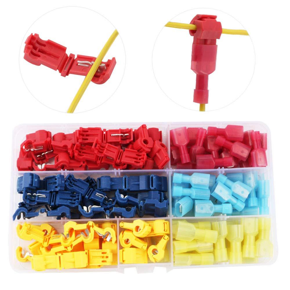RUNCCI 120PcsT-Tap Cable Conector Kit, Conectores de empalme rá pido de cables elé ctricos,- Rojo x20 Pares, Azul x20 Pares, Amarillo x20 Pares Conectores de empalme rápido de cables eléctricos