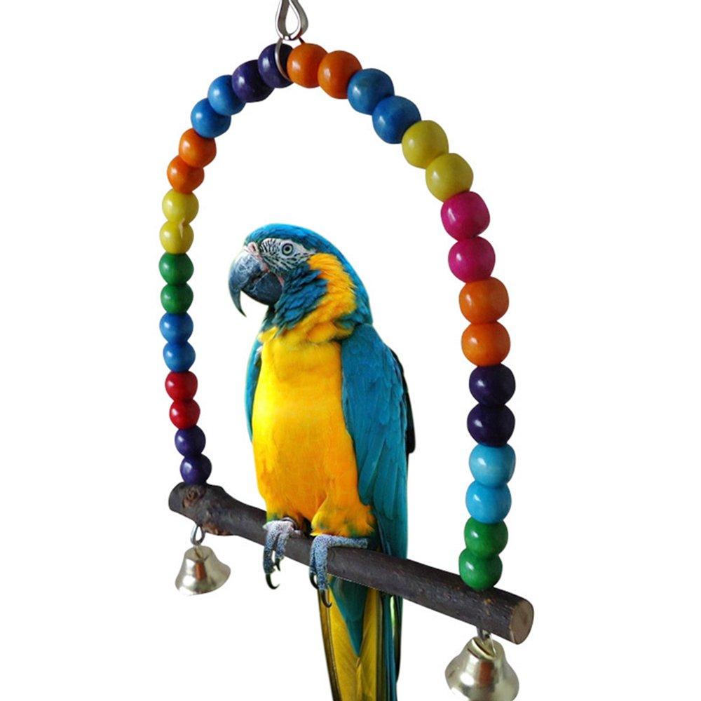 Bird perruche calopsitte élégante Perroquet en bois balançoire Jouets Inséparable à suspendre support pour cage Bodhi2000