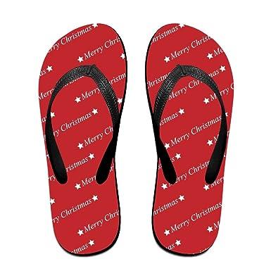 Couple Flip Flops Now Merry Christmas Print Chic Sandals Slipper Rubber Non-Slip Beach Thong Slippers
