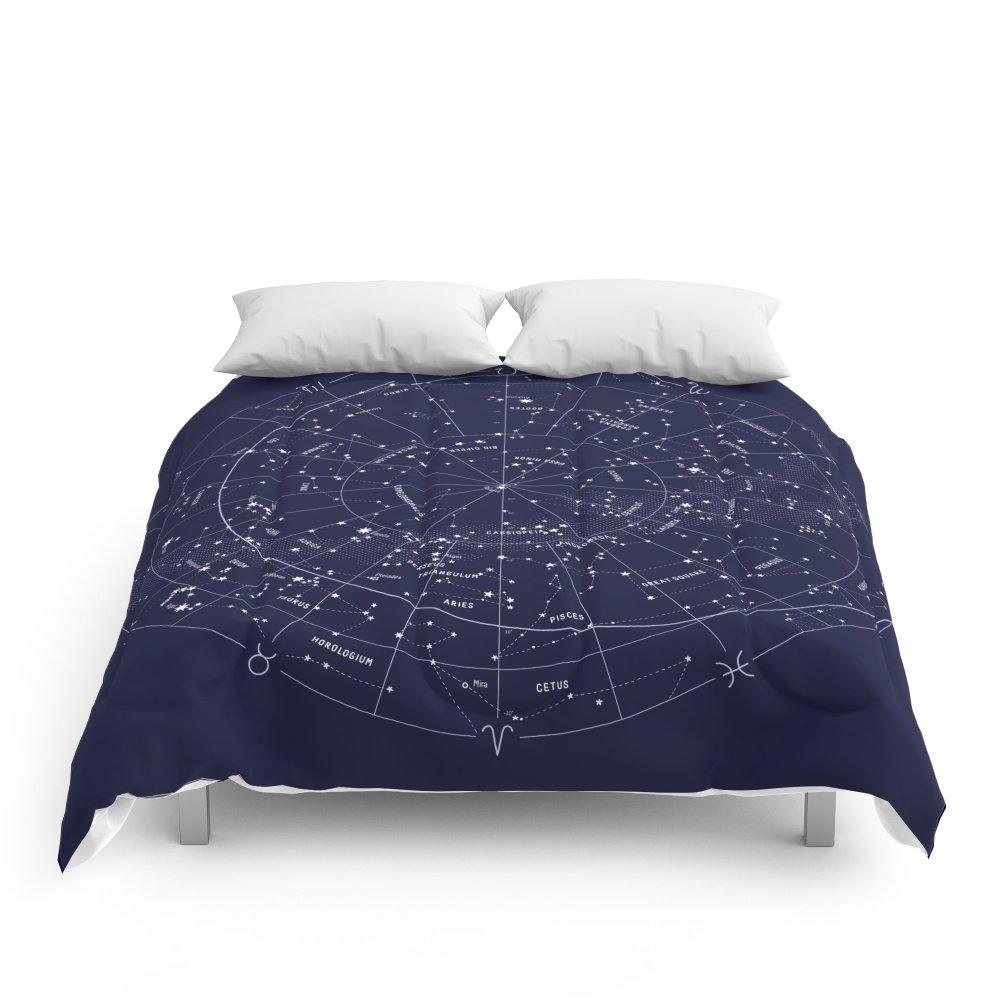 "Society6 Constellation Map Indigo Comforters Queen: 88"" x 88"""