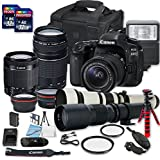 Canon EOS 80D DSLR Camera Bundle with + 2 PC 16 GB Memory Card + Camera Case (3) W/18-55mm+75-300mm+500mm+650-1300mm Lenses