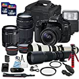 Canon EOS 80D DSLR Camera Bundle + 2 PC 16 GB Memory Card + Camera Case (3) W/18-55mm+75-300mm+500mm+650-1300mm Lenses