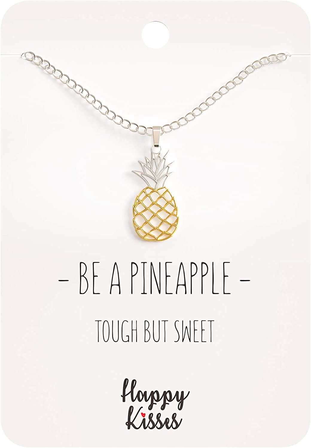 Happy Kisses Pineapple Necklace – Be A Pineapple Pendant – Message Card