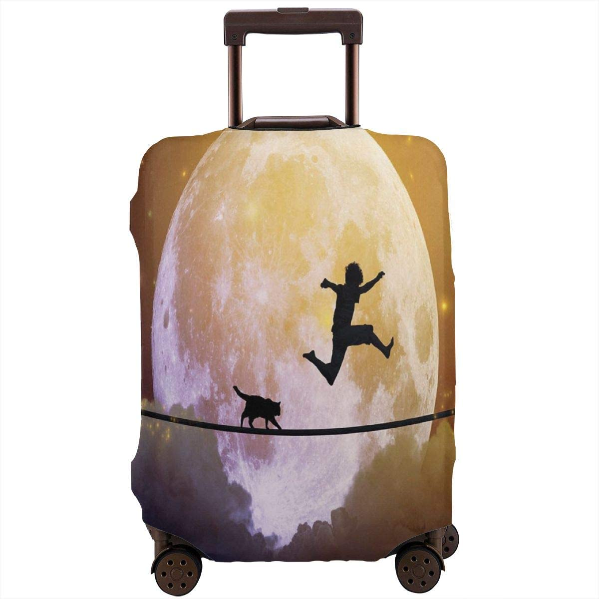 Luggage Cover Adventure Boy Cat Full Moon Protective Travel Trunk Case Elastic Luggage Suitcase Protector Cover