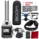 Zoom F1-SP Field Recorder with Shotgun Microphone F1-SP Package with 16GB Card, Stereo Headphones, and Deluxe Bundle