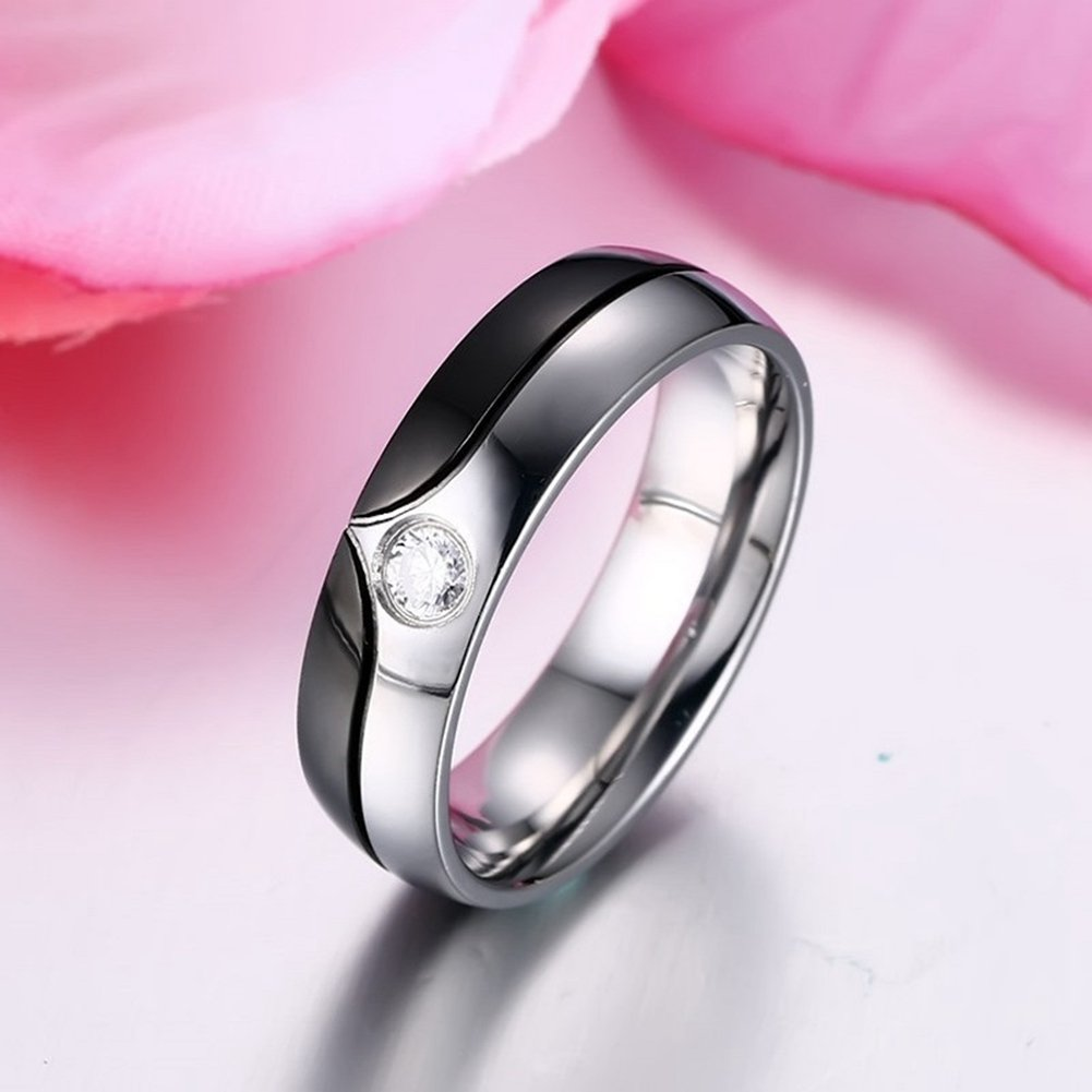Amazon.com: GINBL 6mm Men Stainless Steel Cubic Zirconia Couples ...
