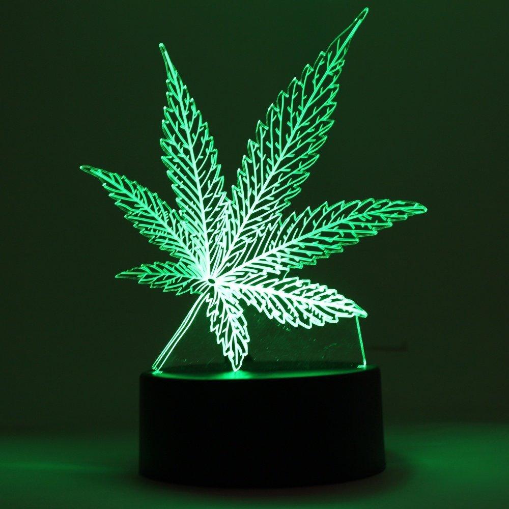 Marijuana Leaf 3D LED Table Lamp Cannabis Weed Night Light Optical Visual Illusion Home Decor Lighting