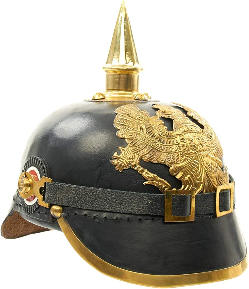 Details about  /NEW YEAR HELMET GERMAN PRUSSIAN PICKELHAUBE SPIKED AURMOR OFFICER LEATHER SCX135
