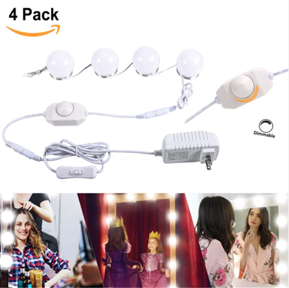 Hollywood Style Makeup Vanity Mirror Led light Kit, Greenclick Diy Light Kits with 4 LED Bulbs Dimming Switch & Ul Listed Adapter For Cosmetic Make-Up Dressing Table Vanity Mirrors