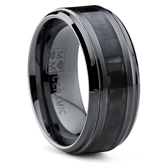 9MM Black Ceramic Wedding Band Ring with Wide Black Carbon Fiber
