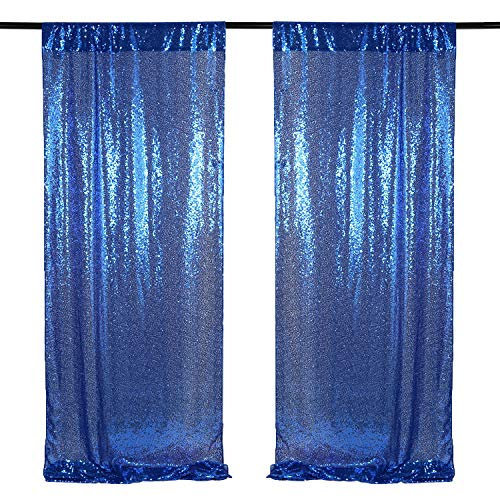 Navy Sequin Backdrop 2 Packs 2ftx8ft Sequin Photography Backgrounds Backdrop Curtain Birthday Party Decoration Fabric Backdrop
