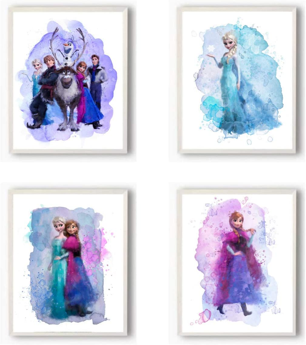 Frozen Wall Decor - Set of 4 (8 inches x 10 inches) Watercolor Poster Prints - Elsa Anna Olaf Kristoff Art Posters