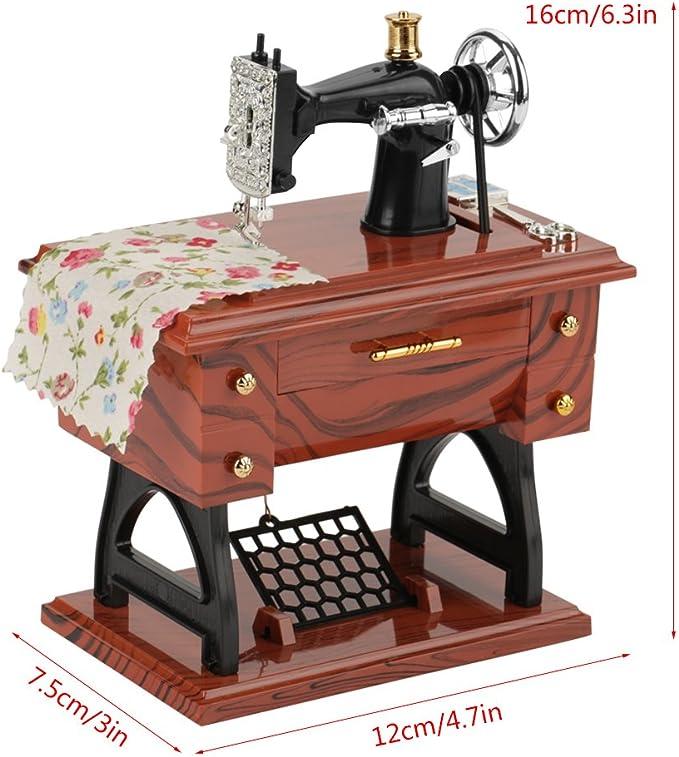 Hztyyier Caja de música de máquina de Coser Vintage, Caja de ...