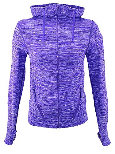 Purple Gray Zip-Up Marled Athletic Jacket Yoga Hoodie Size Small/Medium