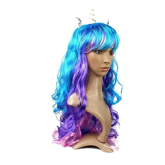 Unicornio peluca unicornio cuerno y orejas peluca creativa peluca colorida se adapta a niños, niñas